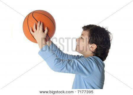 Beautiful Child With Basket Ball Shooting
