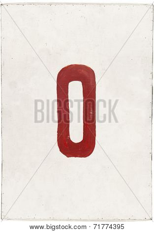 number zero on white plywood board
