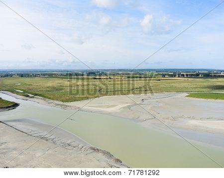 Flat Tidal Bay And Pasture Near Mont Saint-michel