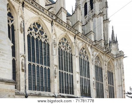 Side Wall Of Medieval Amiens Cathedral