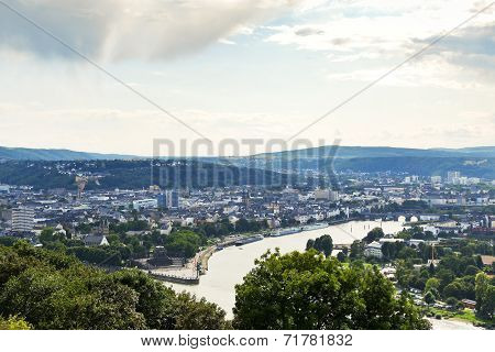 View Of Deutsches Eck In Koblenz Town, Germany