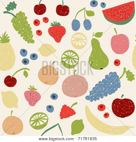 Doodle Fruits Seamless Pattern In Retro Colors