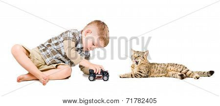 Boy playing near the cat