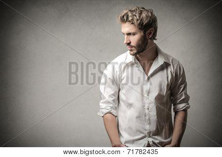 Handsome man looking away