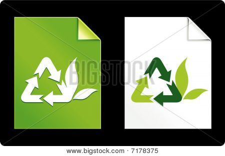Recycle Symbol On Paper Set