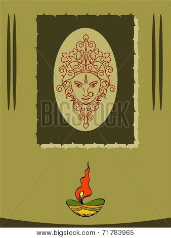 Durga Diwali Greeting Vector Art