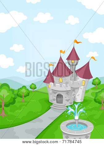 Illustration Featuring a Fountain with a Castle in the Background