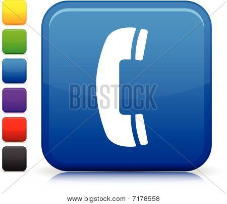 Telephone Icon On Square Internet Button
