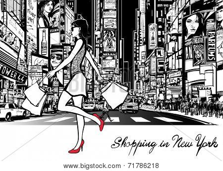 Shopping in Times Square - New York - at night - Vector illustration (all ads are imaginary)