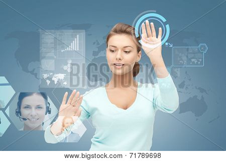 business, future, education and technology concept - smiling young businesswoman or student working with virtual screen