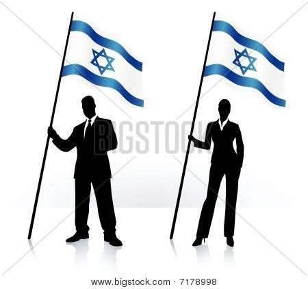Business Silhouettes With Waving Flag Of Israel