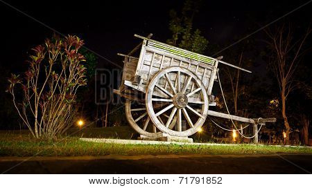 Old Wooden Wagon In The Park - Original Decoration For Landscaping