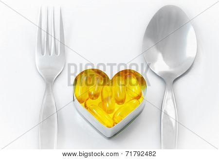 Fish Oil On Heart as Meal