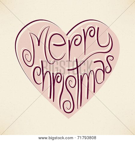Vector Christmas Heart Typography Background