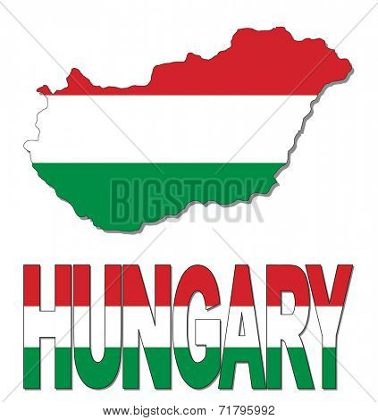 Hungary map flag and text vector illustration