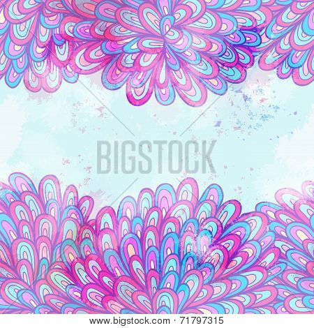 Hand Drawn Seamless Pink And Blue Invitation Card Design With Swirls. Eps10