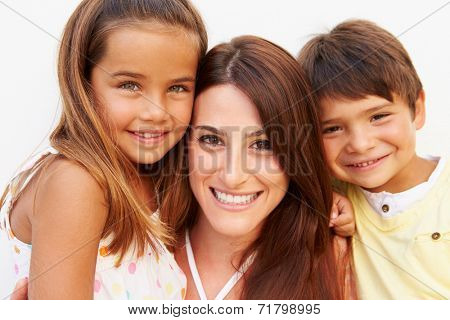 Portrait Of Hispanic Mother With Children