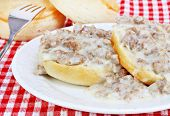 image of biscuits gravy  - Delicious Southern biscuits with sausage and gravy - JPG