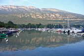picture of annecy  - boats moored on Lake Annecy in the French Alps - JPG