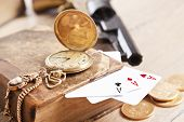 picture of top-gun  - gambling and crime concept with gun - JPG