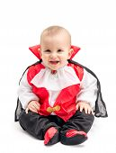 pic of dracula  - Little baby boy with Dracula costume isolated on white background - JPG