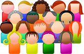 picture of faceless  - Simple icon style group of faceless and diverse people - JPG