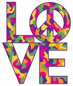 picture of camo  - Text design of LOVE with Peace Symbol in a colorful camouflage pattern - JPG