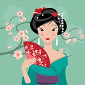 pic of geisha  - Geisha with a fan on the background of cherry blossoms - JPG