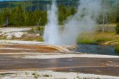 stock photo of obsidian  - Cliff Geyser during eruption Black Sand Basin Yellowstone National Park - JPG