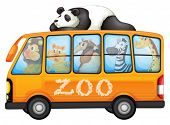 pic of ant-eater  - Illustration of a bus full of animals - JPG