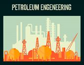 pic of petroleum  - Oil industry petroleum factory poster with industrial constructions vector illustration - JPG