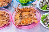 stock photo of cooked blue crab  - steamed crabs in the market along the seashore in the thailand - JPG