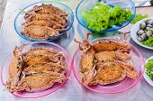 foto of cooked blue crab  - steamed crabs in the market along the seashore in the thailand - JPG