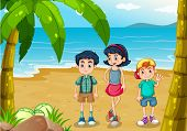 foto of stroll  - Illustration of the children strolling at the beach - JPG