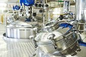 stock photo of pharmaceuticals  - pharmaceutical factory equipment mixing tank on production line in pharmacy industry manufacture factory - JPG