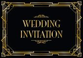 foto of intersection  - an art deco style invitation card black and gold card - JPG