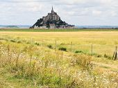 stock photo of mont saint michel  - rural landscape with mont saint - JPG