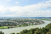 stock photo of moselle  - above view of Koblenz town at the confluence of Moselle and Rhine rivers Germany - JPG