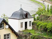 stock photo of moselle  - waterfront of Moselle river in Beilstein village Germany - JPG