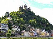 stock photo of moselle  - view of Cochem Imperial castle over Cochem town on Moselle river in Germany - JPG