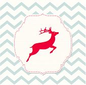 picture of chevron  - red deer on beige background and chevron texture christmas illustration vector eps 10 - JPG