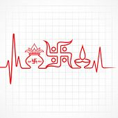 picture of kalash  - Illustration of diwali greeting background with heartbeat - JPG