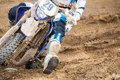 image of dirt-bike  - Closeup of a motocross bike in a championship - JPG