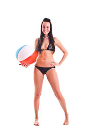 image of beach-ball  - isolated photo set of the woman in swim wear - JPG