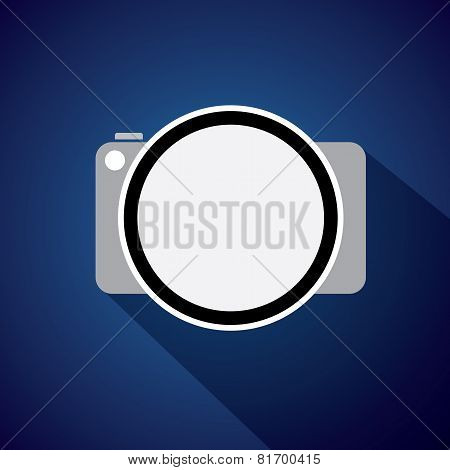 Vector Icon Of Digital Camera With Flat Style And Long Shadows.
