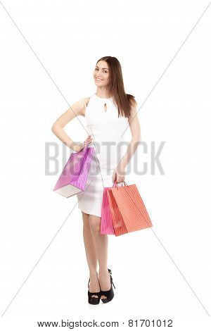 Beautiful Girl With Shopping Bags, Full Length