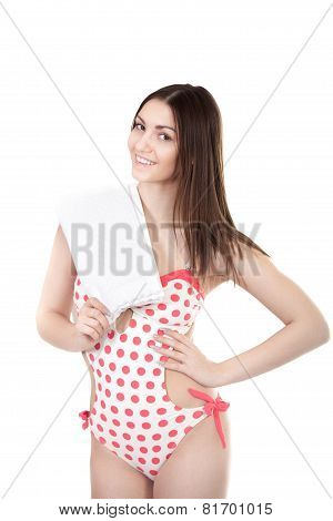 Smiling Young Woman In Swimsuit, Isolated