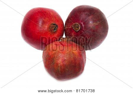 pomegranate fruits on white background