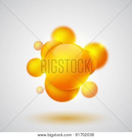 Many orange spheres