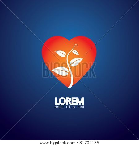 Heart And Plant Concept Of Loving Nature - Eco Vector Icon